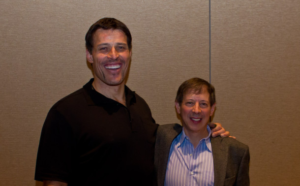 Tony Robbins and Mitch posing for a photo at a Business Mastery Event