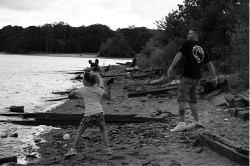 Kenny Cannon and child at lake